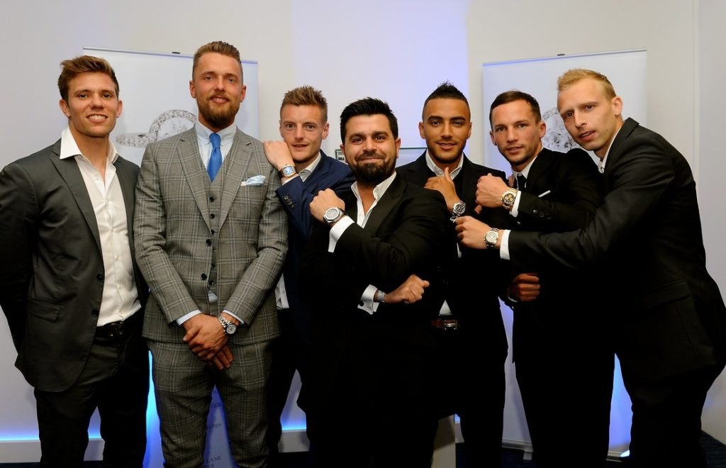 Ercan Onguc of Lanes Fine Jewellery with the Leicester City players.