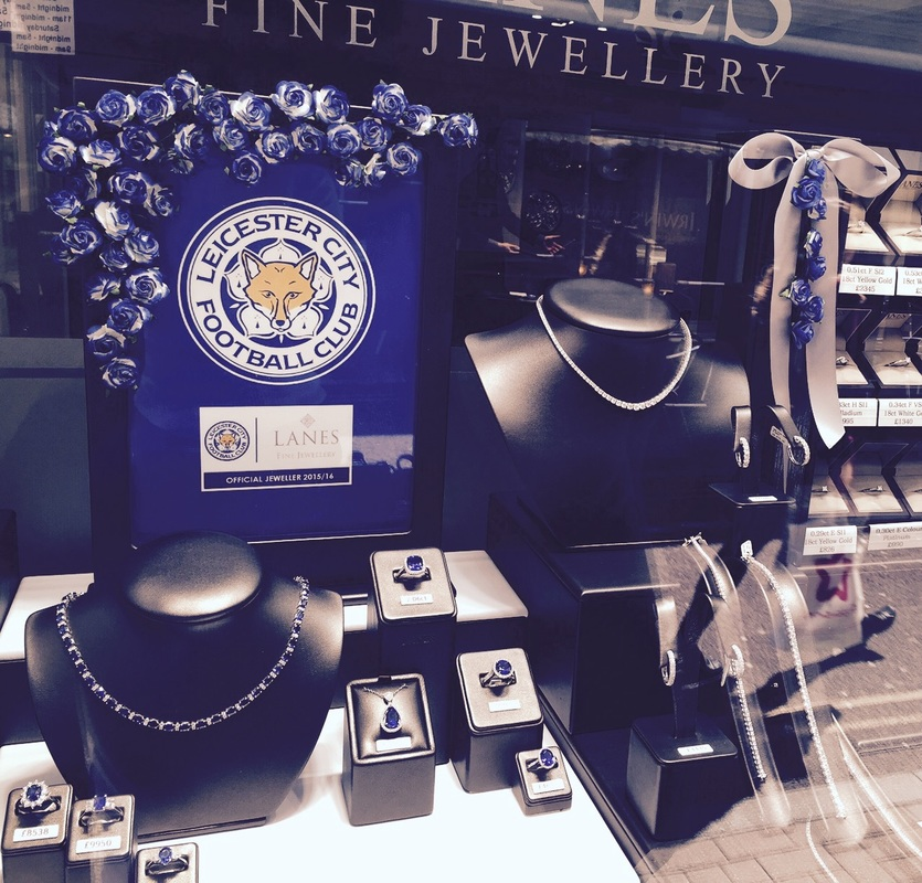 LCFC window display at Lanes Fine Jewellery in Leicester, England.