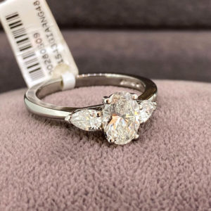 1.29ct Platinum Oval Shaped Diamond Ring with Pear Shaped Shoulders