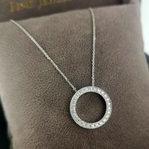 0.20 Carat Diamond Circle Pendant & White Gold Chain