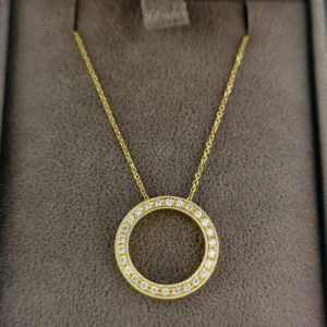 0.20 Carat Diamond Circle Pendant & Yellow Gold Chain