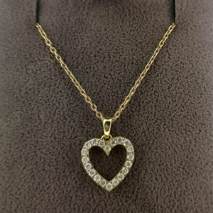 0.24 Carat Diamond Heart Pendant & White Gold Chain