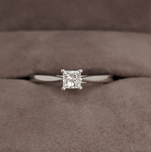 0.30 Carat Princess Cut Diamond Solitaire Ring