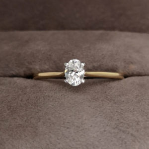 0.31 Carat Oval Cut Diamond Solitaire Ring in Yellow Gold