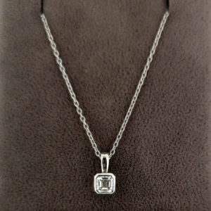 0.32 Carat Asscher Cut Diamond Pendant & White Gold Chain