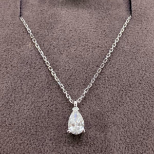 0.34 Carat Pear Cut Diamond Pendant & White Gold Chain