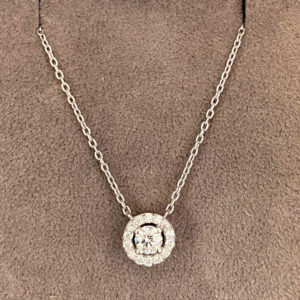 0.37 Carat Diamond Halo Pendant & Chain