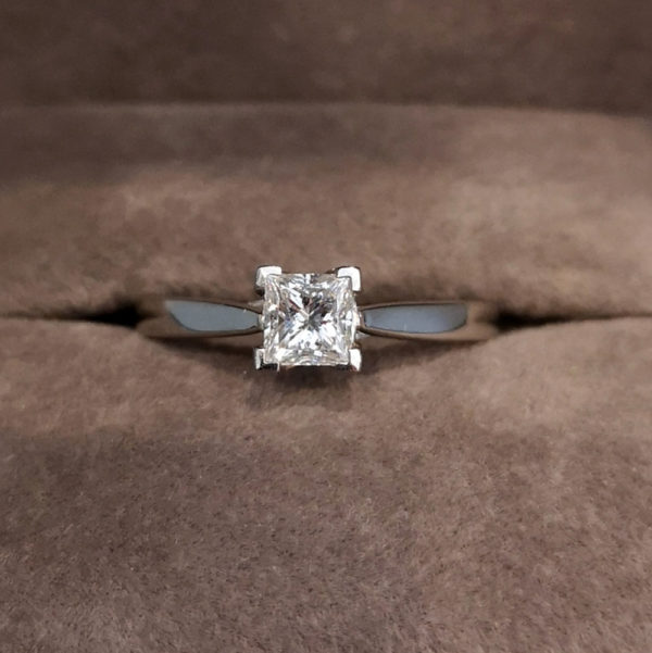 0.39 Carat Princess Cut Diamond Solitaire Ring