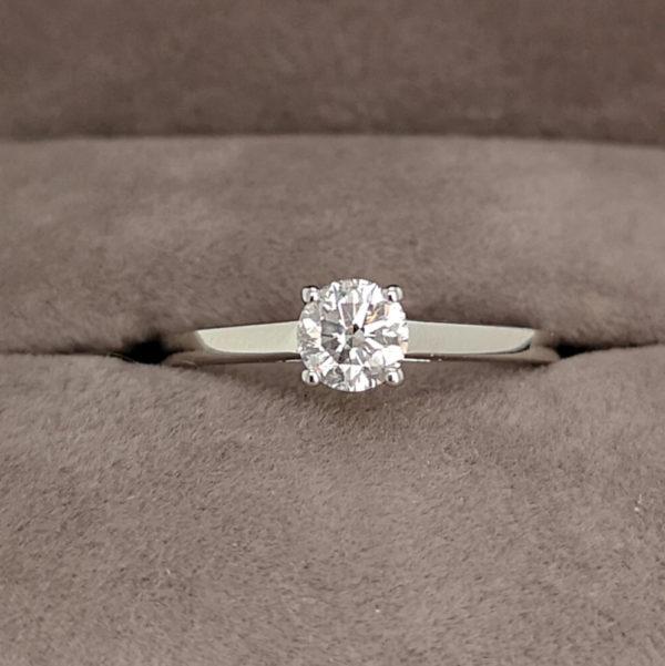 0.46 Carat Round Brilliant Cut Light Pink Diamond Solitaire Ring