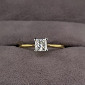 0.48 Carat Princess Cut Diamond Solitaire Ring