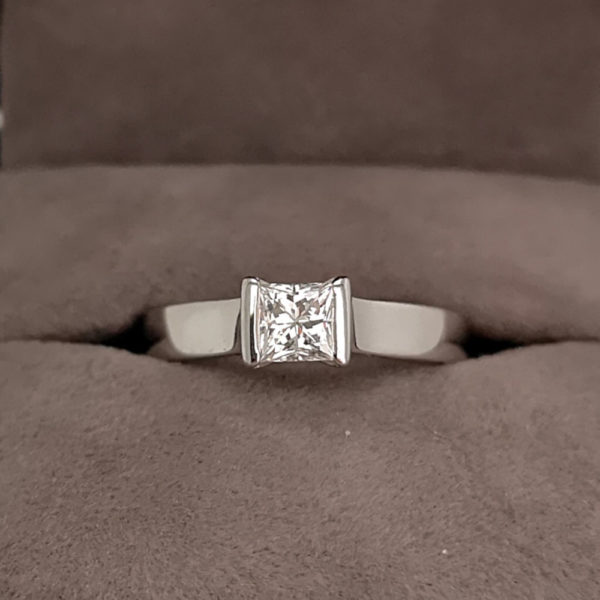 0.49 Carat Princess Cut Diamond Rub-over Solitaire Ring-Pre-owned