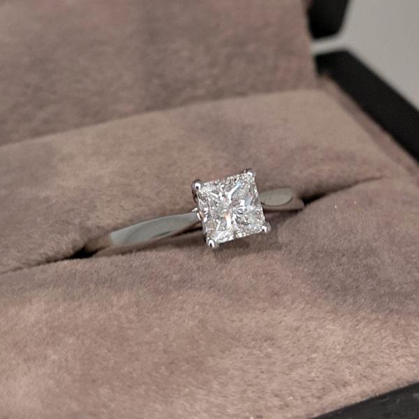 0.52 Carat Princess Cut Diamond Solitaire Ring