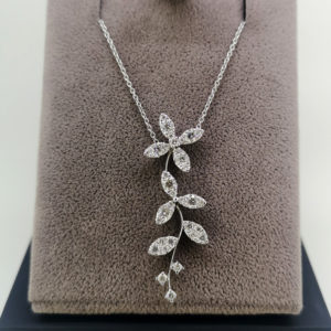 0.69 Carat Diamond Floral Pendant & White Gold Chain