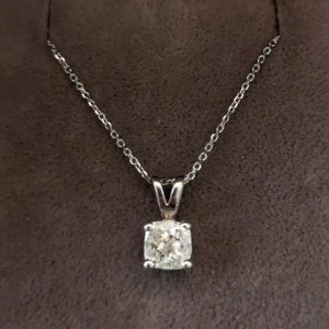 0.70 Carat Cushion Cut Diamond Pendant & Chain