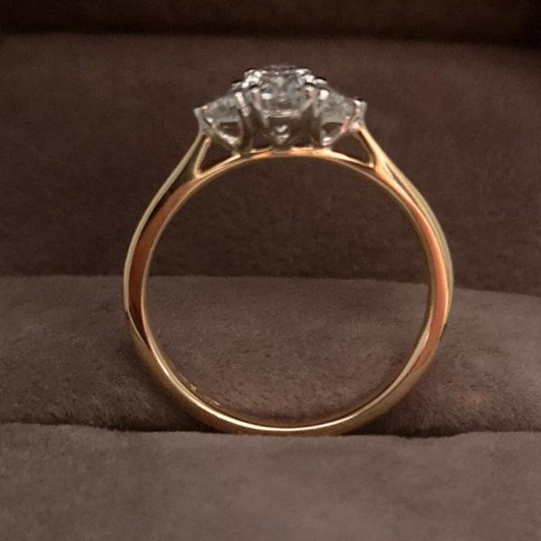 0.71 Carat Platinum Fancy Three Stone Diamond Ring