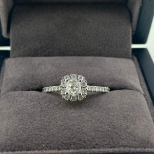 0.77 Carat Cushion Cut Diamond Ring with Halo & Shoulders