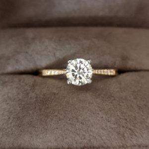 0.83 Carat Round Brilliant Cut Diamond Ring with Diamond Shoulders