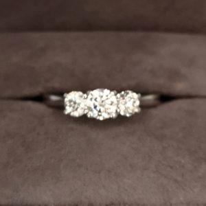 0.85 Carat Platinum Three Stone Diamond Ring
