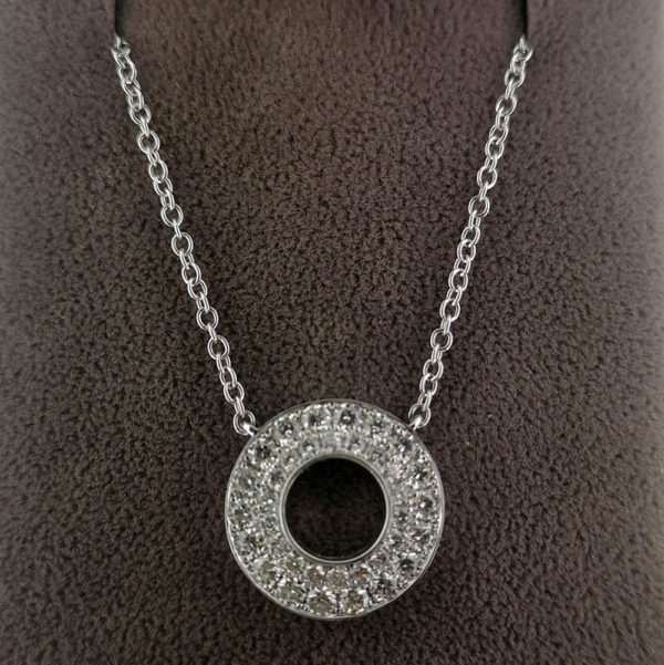 0.90 Carat Double Row Diamond Circle Pendant & White Gold Chain