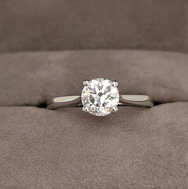 0.92 Carat Round Brilliant Cut Diamond Solitaire Ring