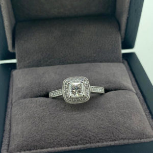 0.95 Vintage Style Princess Cut Diamond Ring with Halo & Shoulders