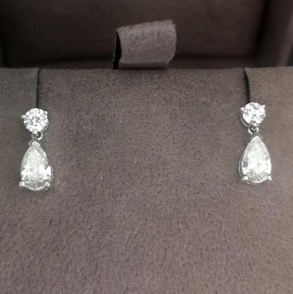 1.00 Carat Pear Diamond Drop Earrings