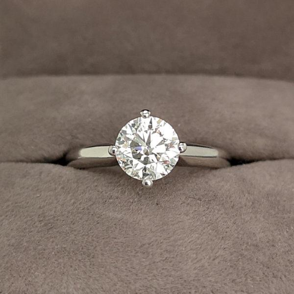 1.20 Carat Round Brilliant Cut Twist Diamond Solitaire Ring