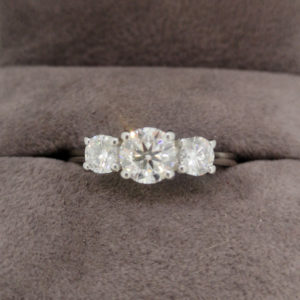 1.27 Carat Platinum Three Stone Diamond Ring