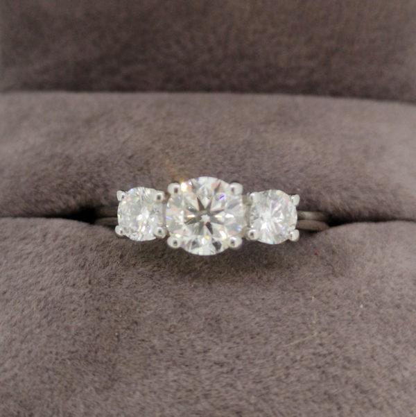 1.27 Carat Platinum Three Stone Diamond Ring