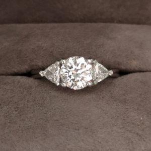 1.39 Carat Platinum Fancy Three Stone Diamond Ring