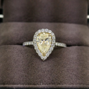 1.40 Carat Yellow Diamond Pear Shaped Halo Engagement Ring