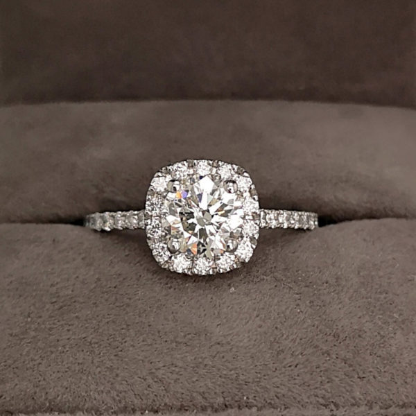 1.50 Round Brilliant Cut Diamond Ring with Diamond Halo and Shoulders