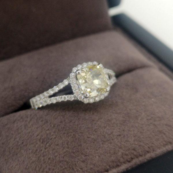1.53 Carat Yellow Diamond Cushion Cut Halo Engagement Ring