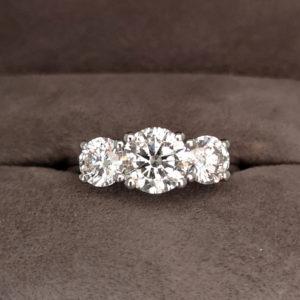 2.00 Carat Platinum Three Stone Diamond Ring