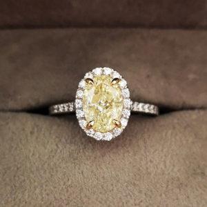 2.43 Carat Yellow Diamond Oval Shaped Halo Engagement Ring
