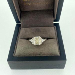 4.00 Carat Diamond Cushion & Trillion Cut Three Stone Ring