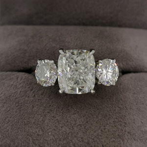 4.32 Carat Diamond Cushion Cut Three Stone Ring
