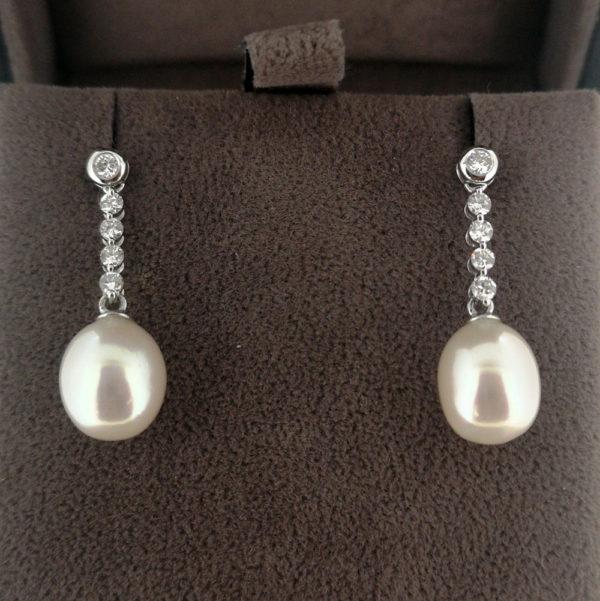 Akoya Pearl & Diamond Drop Earrings