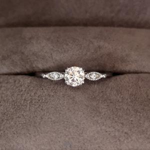 Vintage Style Round Brilliant Cut Diamond Ring