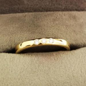 0.06 Carat Yellow Gold Diamond Trio Wedding Band