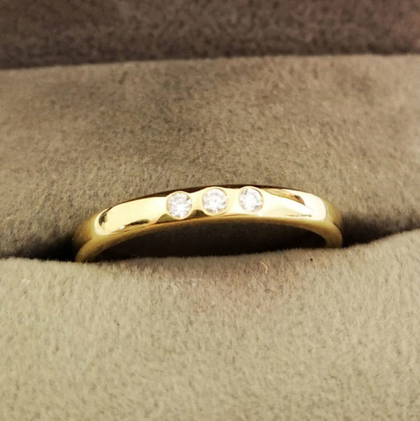 0.06 Carat Yellow Gold Diamond Trio Wedding Band