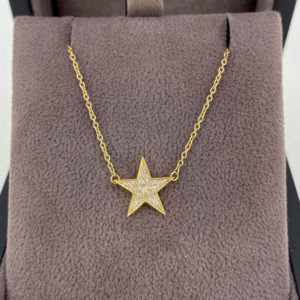0.08 Carat Diamond Star Pendant & Yellow Gold Chain