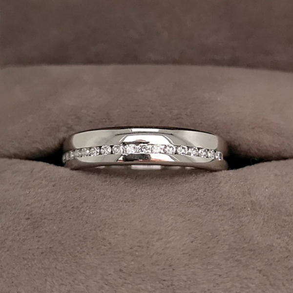 0.25 Carat Half Offset Channel Set Diamond Wedding Ring