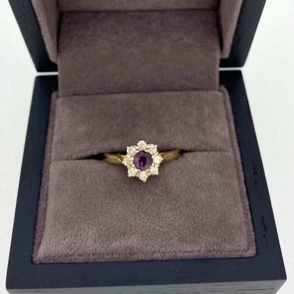 0.62 Carat Ruby & Diamond Cluster Ring