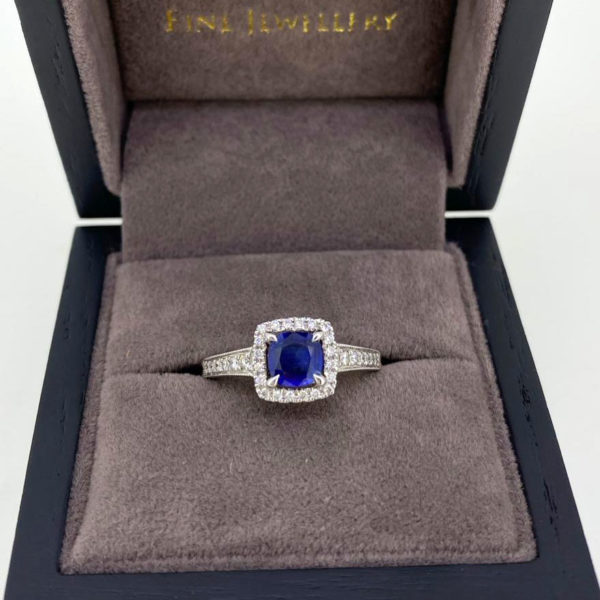 0.80 Carat Diamond & Sapphire Halo Ring in White Gold