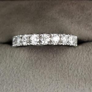 0.89 Carat Flat Claw Set Diamond Eternity Ring in Platinum