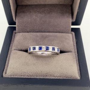 1.14 Carat Blue Sapphire & Diamond Channel Set Eternity Ring