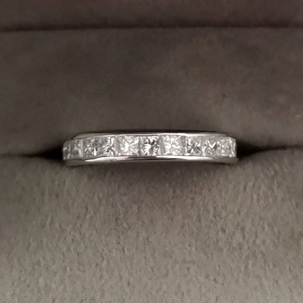 1.28 Carat Platinum Channel Set Diamond Eternity or Wedding Ring