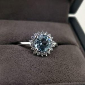 1.40 Carat Aquamarine & Diamond Ring in White Gold