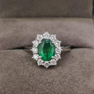 1.73 Carat Green Emerald & Diamond Ring